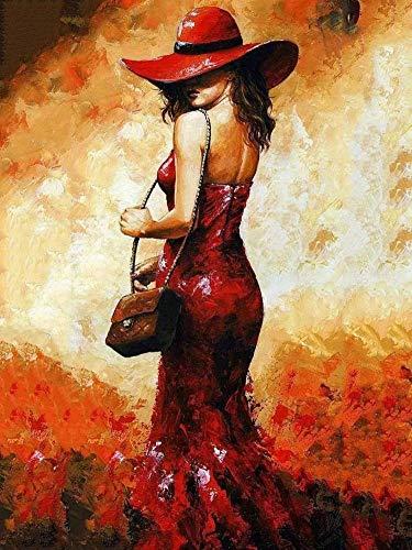 (WOWDECOR DIY Malen nach Zahlen Kits Geschenk für Erwachsene Kinder, Malen nach Zahlen Home Haus Dekor - Mädchen Rot Kleid Hut Zurück Aussicht 16 x 20 Zoll (X7006, Ohne Rahmen))