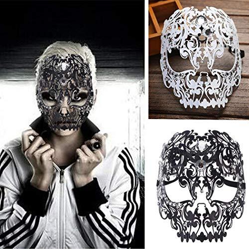 Funpa Venezianische Maske, Metall Damen Masquerade Maske Schädel Gesichtsmaske für Maskenball Kostüm Karneval Halloween Weihnachten - Schädel Kostüm