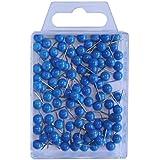 Wedo 56103 Markierungsnadeln Rundkopfnadeln, Nadellänge 16 mm, Kopfdurchmesser 6 mm, 100 Stück, blau
