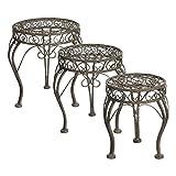 Greenware 732932-T - Muebles de jardín romántico, bistro heces mariquita alrededor conjunto de 3 plazas, marrón
