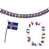 Sonia Originelli Fan-Paket-9 WM EM Fußball Fan Girlande Mini Flagge Hawaiikette Farbe Island