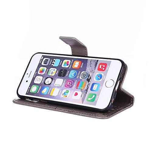Custodia in pelle per iPhone 6,per iPhone 6S Cover, Zcro Stile Elegante di Cuoio Magnetica Flip del Libro Fiori Farfalla Custodia Portafoglio Case con Titolare della Carta Cinturino Nero Gratuito Penn Grigio
