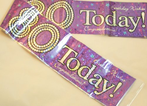 80TH BIRTHDAY BANNER (EXP HOL PURPLE) X20 by EVERY OCCASION PARTY SUPPLIES
