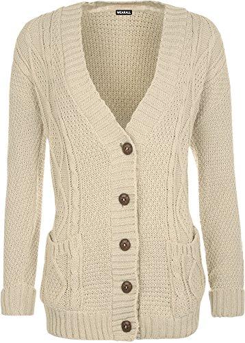 WearAll - Cardigan irlandais à manches longues avec les boutons - Cardigans - Femmes - Taille 36 à 42 Pierre