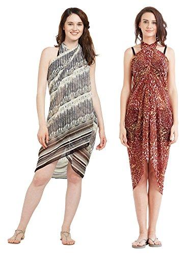 Frauen Faux Georgette Beach Wear Wrap Kombination von 2 Sarong Animal Print & natürliche Gedruckte Pareo Badeanzug Vertuschen (S134 Rot & Off White) Animal Print Faux Wrap