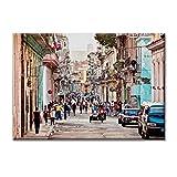 Leinwand-Panel Leinwand Kuba Havanna Strassen Farben-Dekor 70x50 cm