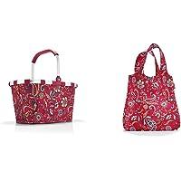 Reisenthel Einkaufskorb, Polyester, Paisley Ruby, 48 cm & AT3067 mini maxi shopper paisley ruby – Einkaufsbeutel mit 15l…