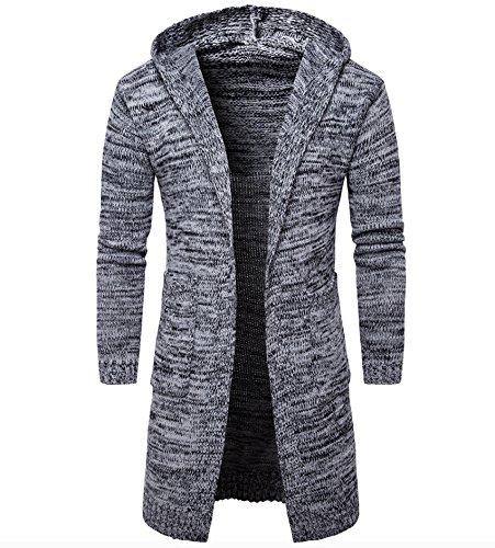 Elonglin Homme Cardigan Longue à Capuche Cardigan Tricoté à Manches Longue Manteau Long Slim Fit Gris XXL