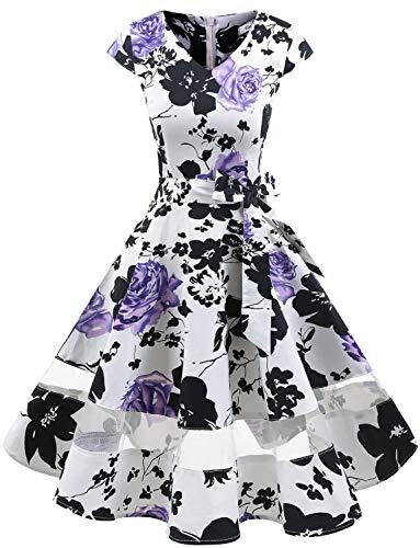 tage Retro Cocktailkleid Cap Sleeves Rockabilly Kleider Damen Schwingen Petticoat Faltenrock White Lavender Flower XL ()
