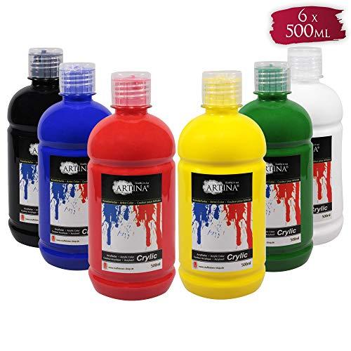Artina Acrylfarben Set Crylic 6x500 ml Künstlerfarben - Hochwertiges Malerei Acryl Set für Profi- und Hobby-Künstler