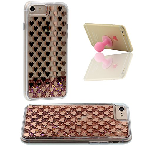 iPhone 7 Plus Case, Coque Étui de Protection pour Apple iPhone 7 Plus 5.5 inch Poudre d'or Couler Dur Transparente Eau Liquide Créatif Géométrie Ligne X 1 Silicone Titulaire Or Rose-1