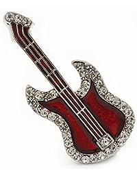 Rojo burdeos de esmalte de Diamante 'guitarra' broche en Rodio - en 5 cm, longitud de la