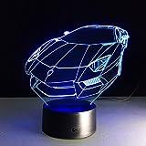 3D Nachtlicht Visualisierung Glow 7 Farbwechsel USB Touch-Taste Und Intelligente Fernbedienung Schreibtisch Tisch Beleuchtung Schönes Geschenk Home Office Dekorationen Spielzeug (Mini Sportwagen)