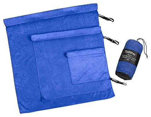 VM-Line Handtücher 3er Set blau, super sanft zu sensibler Haut durch besonders flauschige & samtweiche Velvet-Mikrofaser, je 1 saugstarkes Duschtuch, Handtuch, Gesichtstuch für jeden Tag (70x140+50x90+30x50 cm)