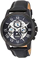 Fossil Grant Men's Black Dial Leather Band Watch - ME3028