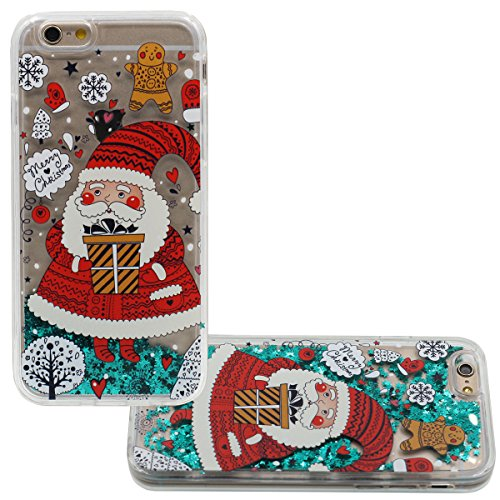 """iPhone 6S Plus Hülle Hübsch Weihnachten Santa Claus Stil Muster und Schwimmen Grün Sterne Flüssigkeit Wasser Entwurf Transparent Hart Cover Case für Apple iPhone 6 Plus 6S Plus 5.5"""" Stoßfest Color-1"""
