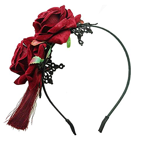 European Retro Halloween Populäre Rote Blume Rot Quaste Handarbeit Haarbänder Haarschmuck