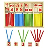 Monbedos Math Learning Toys Preschool Educational Toys Wooden Early Education Puzzle Toys Set Preschool Kindergarten Teaching Tool for Toddlers (23.3*14.8*1.6CM)