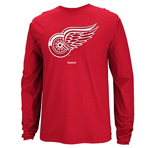 Detroit Red Wings Reebok NHL Jersey Maglia Crest Long Sleeve Men's T-Shirt Camicia