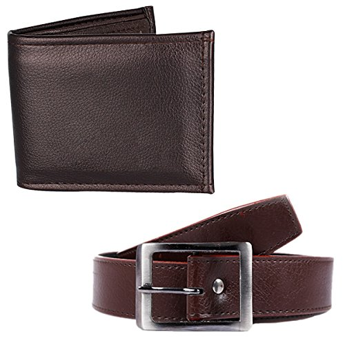 Mango People Combo of Brown H-Belt and wallet for Men