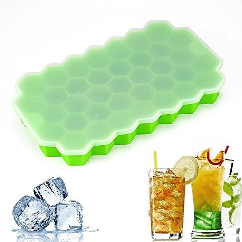 37 Grid Silikon Eiswürfelschale mit Deckel, BPA frei Wabenförmige Eiswürfelform mit Non-Spill Deckel für Babynahrung, Wasser, Cocktail und andere Getränke
