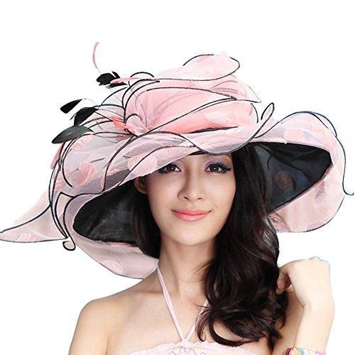 June s Young Sombrero Mujer para Verano Organza Pamelas Playa Sol Elegante  con Piedra Joyas Sombrero Pamela 2b640162053