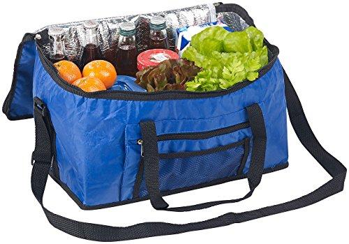 PEARL Isoliertasche: Faltbare Kühltasche mit Schultergurt & Tragegriffen, 24 Liter, blau (Kühlboxen)