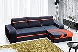 Furnistad - Ecksofa BELLA Mit Schlaffunktion Und Bettkasten (Schwarz + Orange, Option rechts)