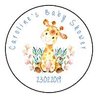 Personalised Baby Shower Stickers For Party Favour Sweet Bags Watercolour Giraffe GLOSS