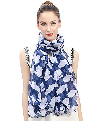 Lina & Lily Kaninchen Bunny Print Damen Schal Oversized, Blau