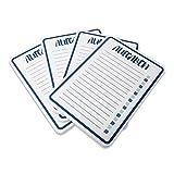 HappyWords® 4er Spar-Set Block AUFGABEN   DIN A6   RUNDE Ecken   4 x 50 Blatt = 200 Blatt   Premium-Papier   Einkaufsblock Checkliste Wochenplaner Notizen Einkaufsliste ToDo Liste   Aufgaben Blau