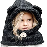 Aclth Chicos de Invierno para niñas Sombrero de niño Negro Niños Invierno Tejido Capucha Bufandas Gorros Orejas Orejeras Gorro de Lana para Actividades de Snowboard al Aire Libre