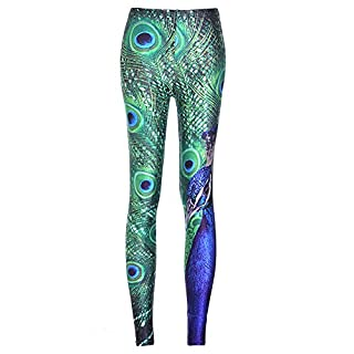 Anyu Ladies Peacock Plume Pattern Elasticity Long Yoga Sports Leggings XL