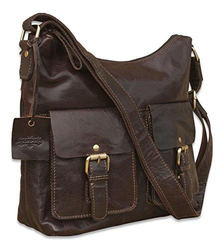 Brunhide # 140-300 - Borsa a tracolla donna stile cartella/satchel con tracolla regolabile - vera pelle di bufalo Marrone scuro