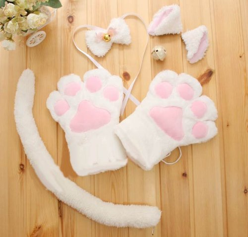 Set cat ear tail cosplay set white cosplay accessory Nyanko to Moe Moe (japan - White Cat Kostüm