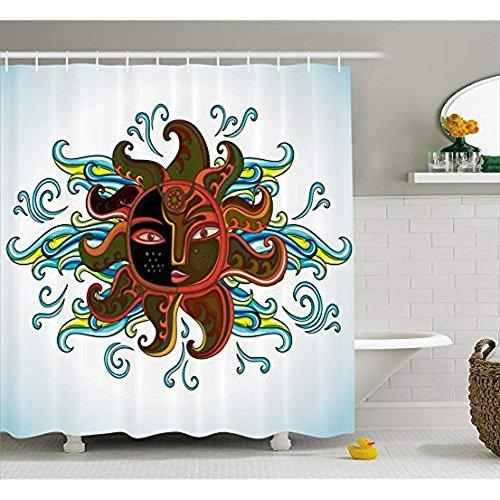Yeuss Aztec Duschvorhang von, ethnische Sun Figur mit Gesicht und geschweiften Strahlen abstrakte künstlerischen Morgen Stoff Badezimmer Dekor Set mit Haken, dunkelorange gelb blau (Aztec Figuren)