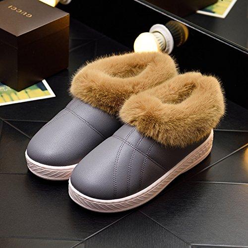 DogHaccd pantofole,Inverno pelle pu di spessore, antiscivolo soggiorno impermeabile home scarpe di cotone uomini e donne paio di pantofole di cotone confezione con scarpe di peluche Colore solido grigio4