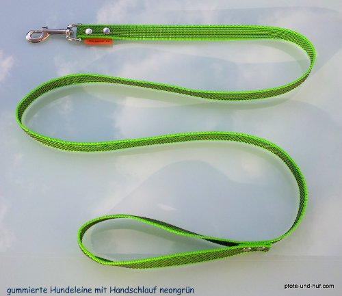 Artikelbild: Gummierte Hundeleine 1,50m mit Handschlaufe neongrün