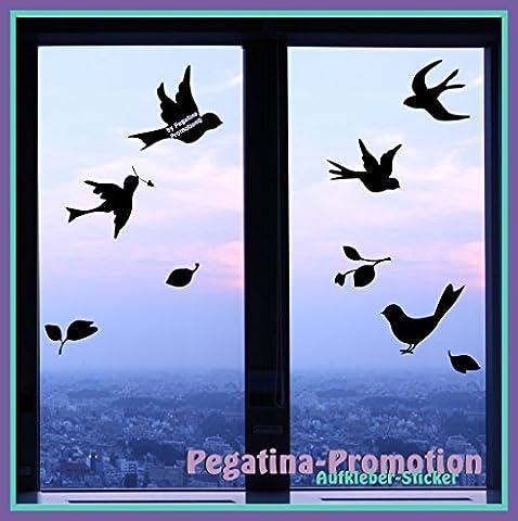 5 Vögel mit Blättern, 20-25cm, Motiv1 nutzbar als Wandtatto, Warnvögel gegen Vogelschlag, Schutz vor Glasbruch, Fensterschutz auch für Autos,