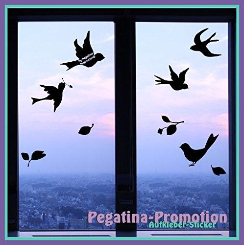 Pegatina Promotion S.L 5 Vögel mit Blättern, 20-25cm, Motiv1 nutzbar als Wandtatto, Warnvögel gegen Vogelschlag, Schutz vor Glasbruch, Fensterschutz auch für Autos, -