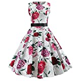 Xmiral Damen Kleid Vintage Sleeveless O Hals Fliege Taille Rock Abend Plaid Printing Party Abendkleid (L,Weiß-10)