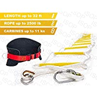 ISOP Emergency Fire Escape Rope Ladder 3-4 Story Homes 32 ft Flame Resistant Unique Safety Ladder with Hooks & Safety Cord -Fast Deploy & Simple to Use - Compact & Reusable