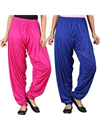 WellFitLook Womens Pack Of 2 Patiala Pant-Pink And Royal Blue