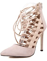 Zapatos de Tacón/Spring, Summer and Exposed The Strap High Heels Tip Cross Fine with Women Shoes,Apricot,36
