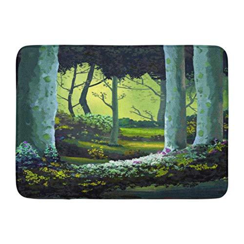 Soefipok Badematte Buchgeschichte Der Wald voller Erinnerungen Realistischer Stil Szene Design Anime Cartoon Badezimmer Dekor Teppich