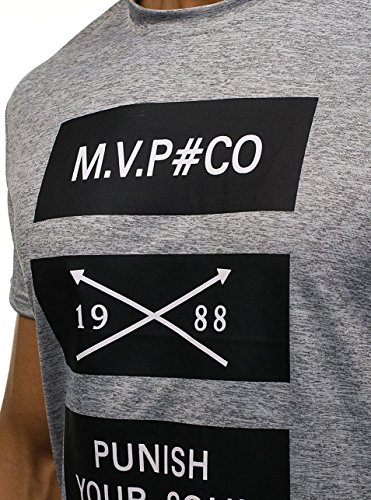 BOLF Herren T-Shirt Tee Kurzarm Aufdruck Print Camo Lang Slim Fit Mix 3C3 Motiv Grau_S077