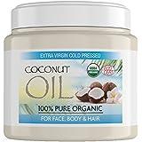 Aceite de coco virgen para el cabello hecho de coco puro sin refinar al 100%, aceite de coco extra virgen para la piel, el pelo y el rostro. Aceite de coco virgen y sin refinar por completo - Tarro de 500 gramos