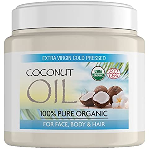 Aceite de coco virgen para el cabello hecho de coco puro sin refinar al 100%, aceite de coco extra virgen para la piel, el pelo y el rostro. Aceite de coco virgen y sin refinar por completo - Tarro de 500