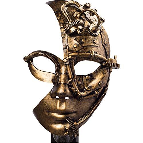 Amakando Steampunk-Halbmaske mit Zahnrädern für Damen / Bronzefarben / Kostüm-Zubehör Retro-Futurismus / Perfekt geeignet zu Mottoparty & Karneval