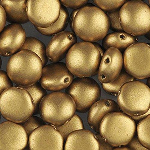 PRECIOSA Candy Perlen 8mm–matt metallic aztec gold–25Perlen (Metallic-perle Halskette)